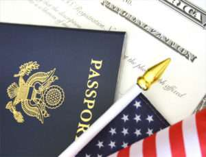 Passort, American flag and social security card
